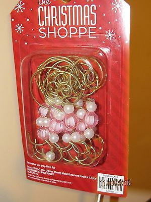 NEW 12 Gold Swirl Decorative Christmas Tree Ornament Hooks with pink beads.