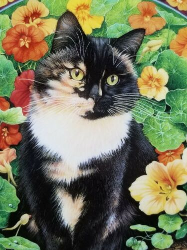 """1996 LE Lesley Anne Ivory Cats Among the Flowers """"Motley in Nasturtiums"""" NIB"""