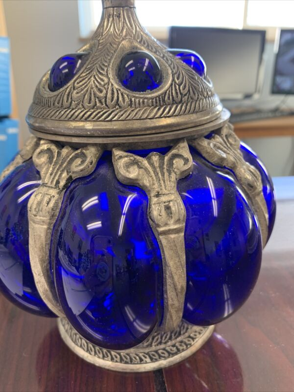 VTG BLOWN COBALT BLUE BUBBLE GLASS SILVER PEWTER CAGE URN CANISTER PINEAPPLE LID