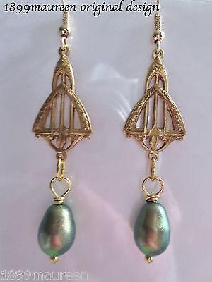 Art Nouveau Art Deco earrings Edwardian Victorian vintage style green gold pearl