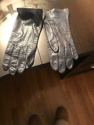 Grandoe Silk Lined Genuine Leather Gloves, Size 7 Navy Grandoe Lined Gloves