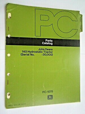 John Deere 140 Lawn Garden Hydrostatic Tractor Parts Catalog Manual Pc-1078