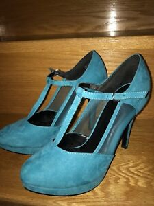 BLUE MESH STYLED HIGH HEELS/PUMPS