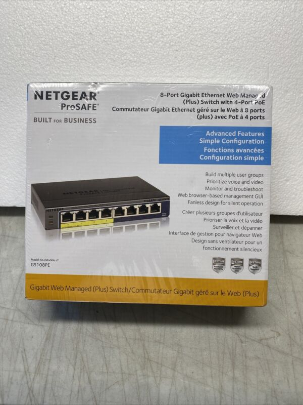 Netgear ProSafe 8-Port Gigabit Ethernet Web Managed Plus Switch w/ 4-Port PoE