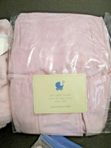 Pottery Barn Car Seat Cover, Baby Blanket, 6 Pair Booties, 5 Pcs Bows Pink Lot - $24.95