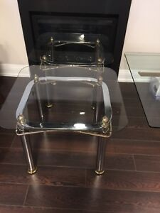 Coffee table & 2 end tables Glass silver & gold accents