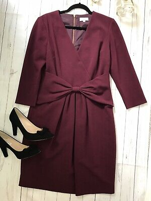 Hoss Intropia Size 42 UK 14 Burgundy long sleeve bow dress work office business