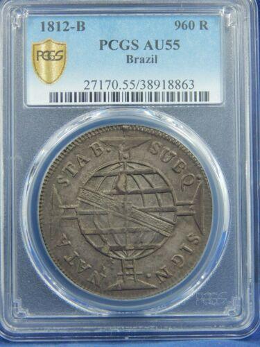 BRAZIL 960 REIS 1812 BAHIA MINT O/D 8 REALES SMALL CROWN PCGS AU55 GORGEOUS RARE