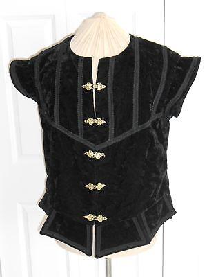 NEW RENAISSANCE TUDOR MEDIEVAL BLACK NOBLE COURT VEST JERKIN DOUBLET COSTUME 44 - Medieval Vests