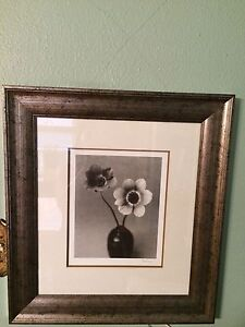 FRAMED and MATTED print.  Wood frame