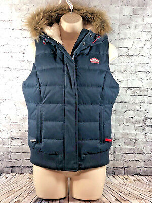 SUPERDRY + the hooded gilet Fur trim Sherpa Lined vest womens sz s navy