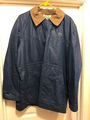 VINTAGE IZOD LACOSTE JACKET COAT FULL ZIP LINED BLUE SZ XL