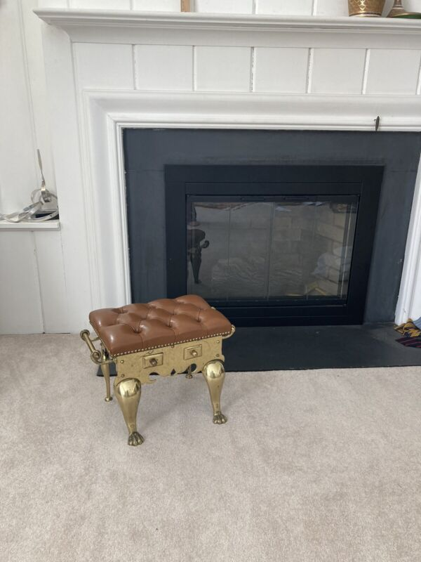 Solid Brass Jans of London Chesterfield Brown Leather Footman Footstool ENGLAND