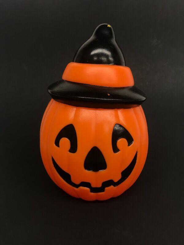 "Vtg 1995 Halloween 8"" Empire Plastic Blow Mold PUMPKIN JOL w/ WITCH HAT Light Up"