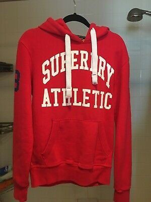 SUPERDRY RED / ORANGE HOODY SWEATER - UK Size Small