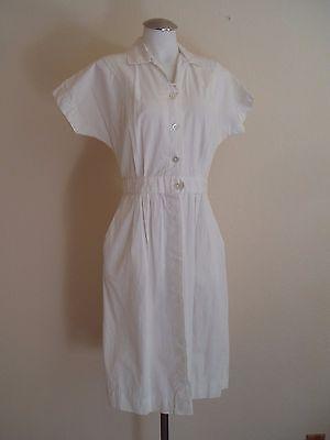 Vintage 40's/50's Women's Waitress, Nurse White Cotton Uniform Work DressGown
