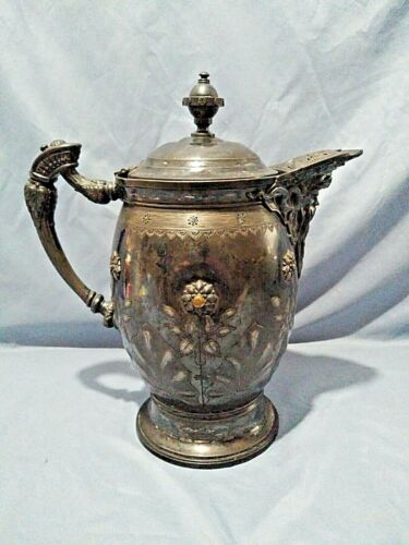 Antique Meriden B. Company Silver Plate Tilting Pitcher c.1860