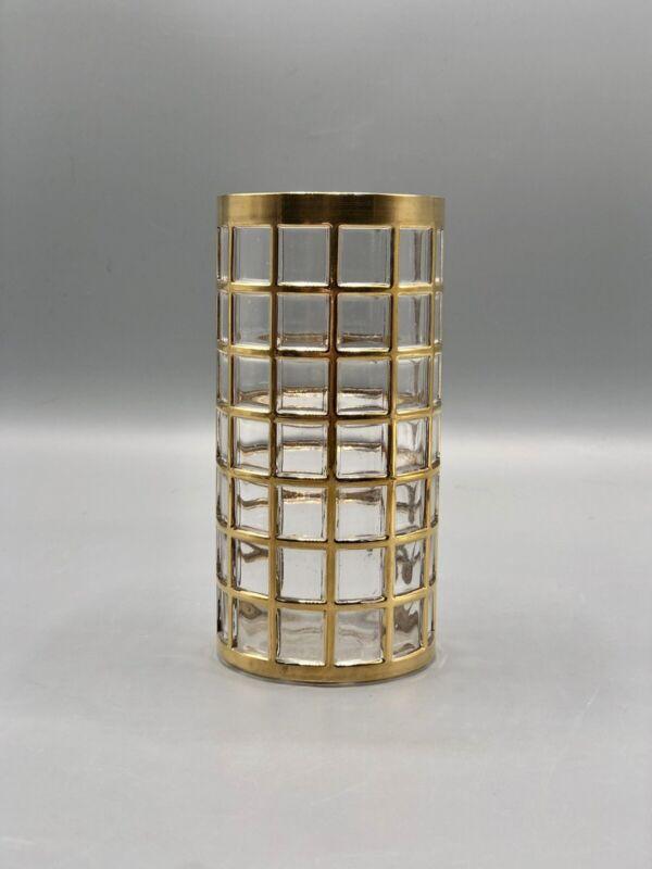 Imperial Glass Co. Toril de Oro 22k Highball Glass~Gold Lattice MCM Tumbler
