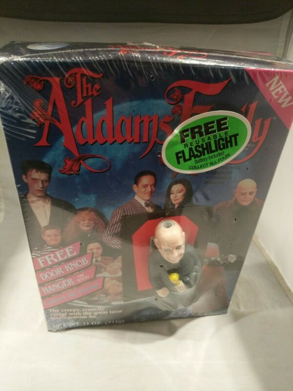 SEALED 1991 ADDAMS FAMILY Cereal Box w Uncle Fester Flashlight