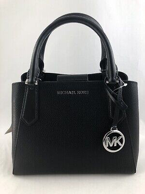 New Authentic Michael Kors Kimberly Small Leather Satchel Crossbody Purse Black
