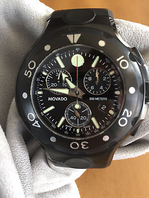 Movado Series 800 *RARE* Chrono Black Stainless Steel Men's Diver Watch  $1695