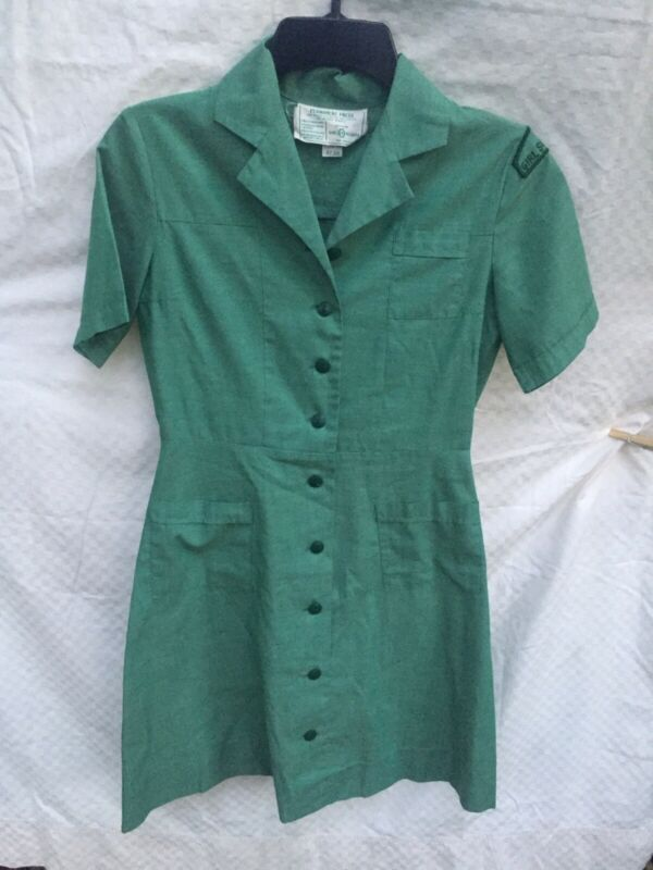 VTG Girl Scout Green Dress Uniform SZ 10