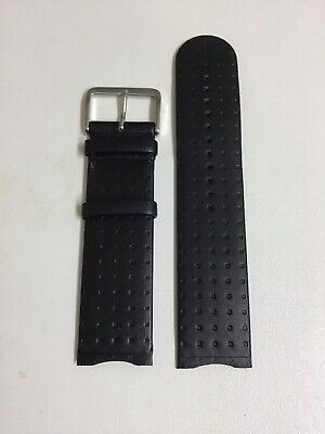 Junghans Original 24mm Black Watch Strap Screw Fitting Style With Steel Buckle