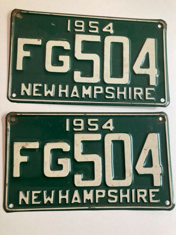 1954 New Hampshire License Plate PAIR Plates Chevrolet Mercury Ford Dodge Buick