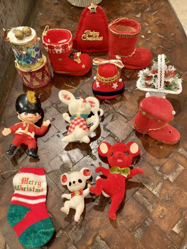 Vintage Flocked Christmas Ornament Lot Of 13 Drum Boot Bell Mouse