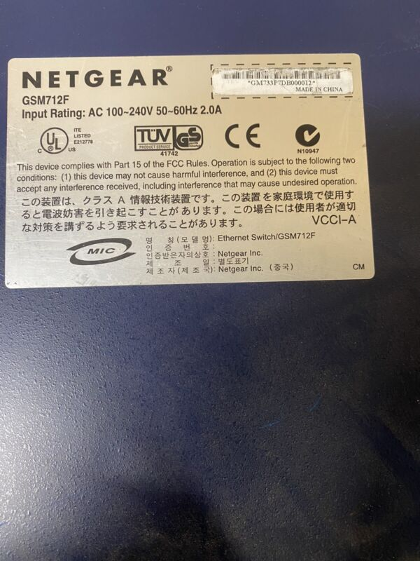 Netgear Prosafe GSM712F 12-Port Managed Fiber Gigabit Switch