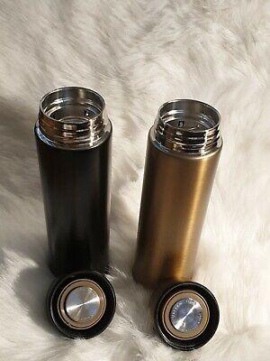 Thermoskanne mit Teesieb hochisolierend in SCHWARZ/GOLD 500ml Edelstahl
