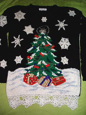 Vintage 1993 AWESOME Ugly Christmas Sweater Size Medium EUC