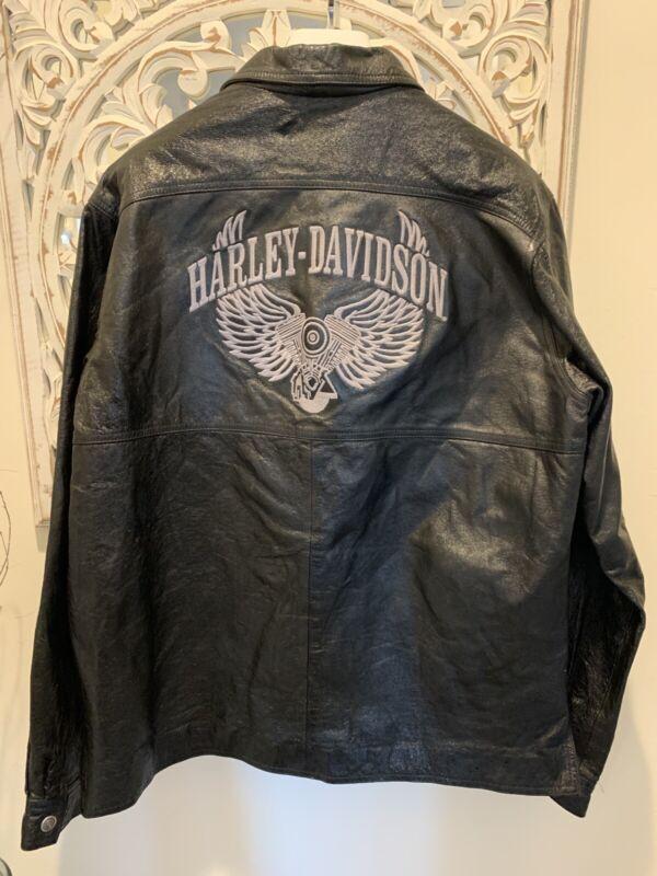 Harley Davidson XL Black Leather Pull-Over Shirt