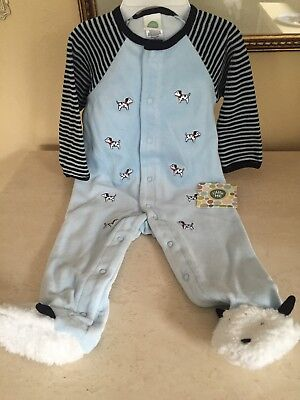 Nwt   Little Me Baby Boy 9 Mos  Dalmatian Footed Velour Outfit Retail  30