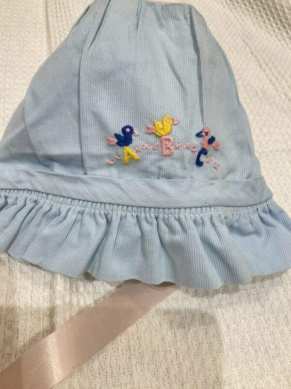VTG 60'S Baby Bonnet Light Blue Bird ABC Embroidery Pink Ribbon Tie 3-6 Months