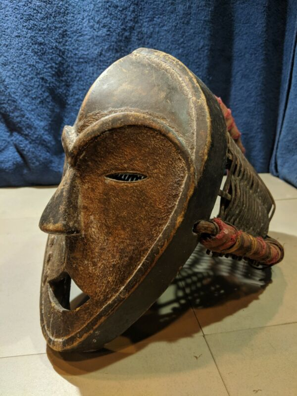 Lega Mask and Headdress — Authentic Hand Carved Wood African Art