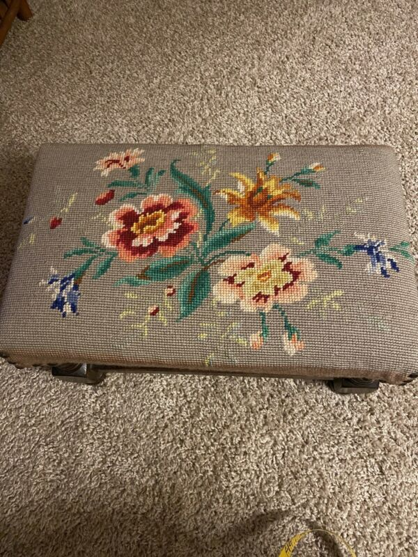 Vintage Footstool Floral Needlepoint Wood Rectangle Shape