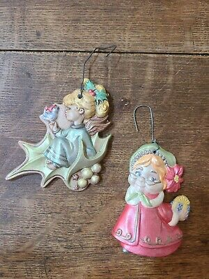 Lot of 2 Vintage Ceramic Hand Painted Christmas Tree Ornaments 60's