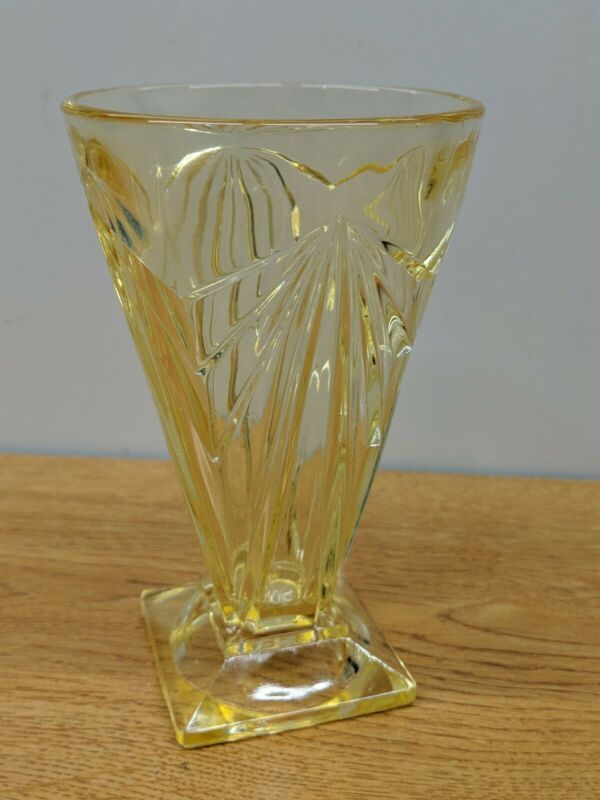 VINTAGE Topaz Yellow Pyramid Tumbler GOBLET Indiana Glass Co.
