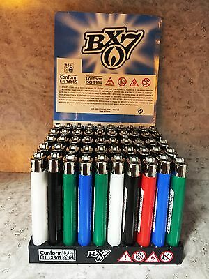 50 Stück BX 7 Reibrad Feuerzeuge farbig sortiert von BIC Feuerzeug Neu und OVP