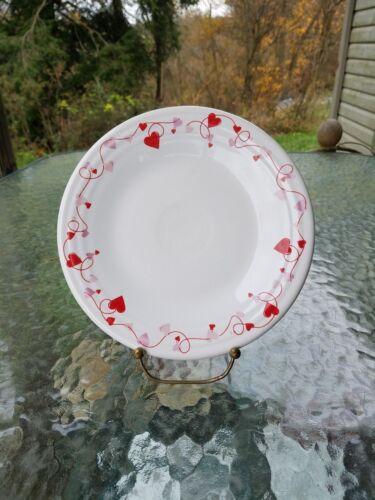 """FIESTA valentine HEARTS 9"""" LUNCHEON lunch PLATE white"""