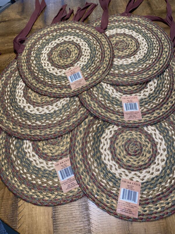 """VHC Brand 15"""" Round Jute Set of 6 Primitive Braided Chair Pads Tea Cabin NWT"""
