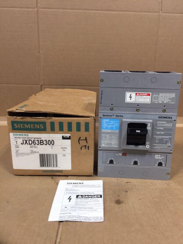 NEW SIEMENS JXD63B300 SENTRON SERIES JXD 300 A 600V FREE 2 DAY AIR HOUSTON STOCK