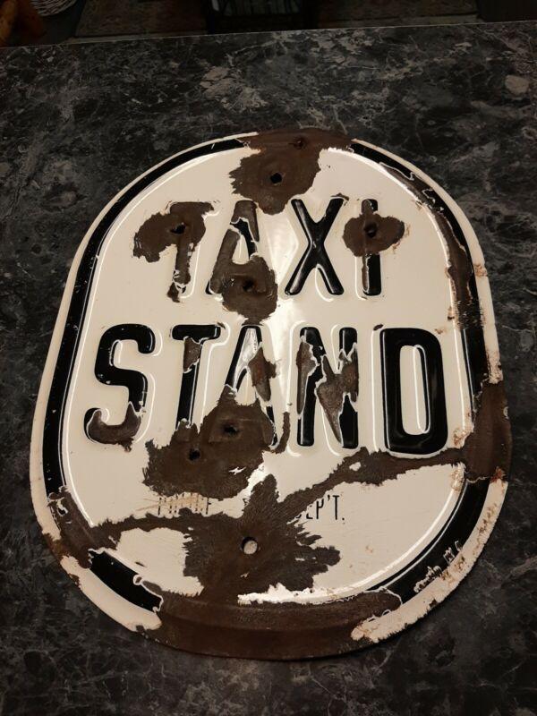 Vintage Porcelain Sign Taxi Stand Police