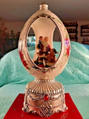 NIB CHRISTMAS Revolving Musical Jeweled Egg Music Box Santa Claus and Kids