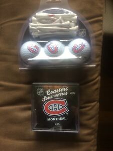 Montreal Canadians golf balls and coasters