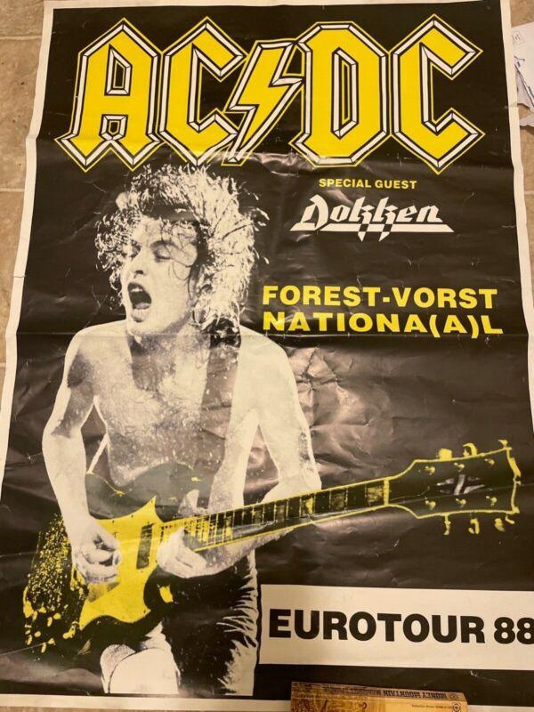 """AC/DC 1988 concert poster Angus Young EUROTOUR Original, 35""""X 25"""""""