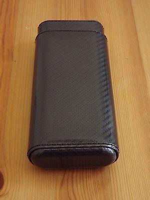 New  Black Carbon Fiber 3 Finger 52 R Gauge Cigar Case Holder with Cedar Lining (Carbon Fiber Cigar Case)