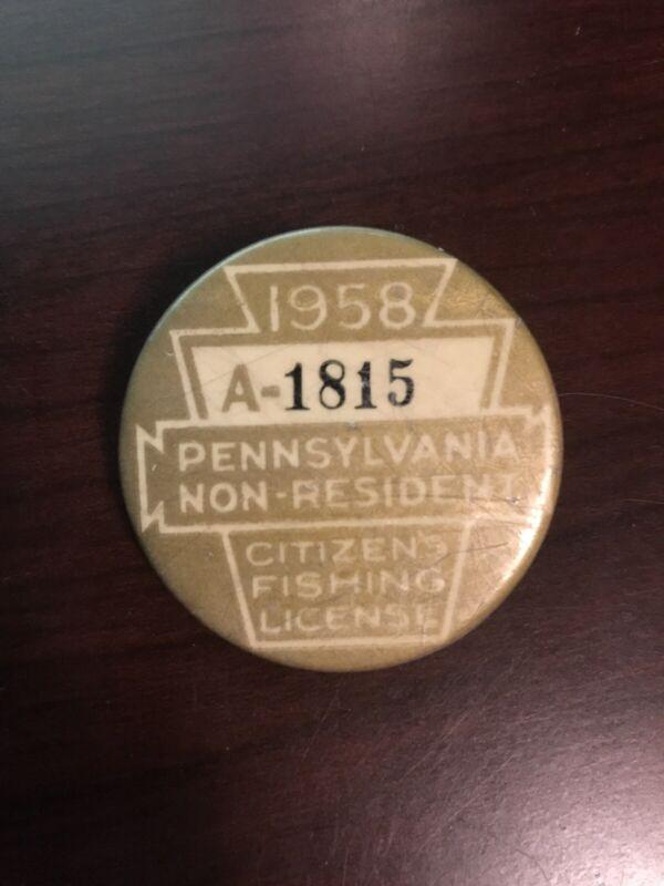 PA Pennsylvania Fishing License Non Resident Button 1958