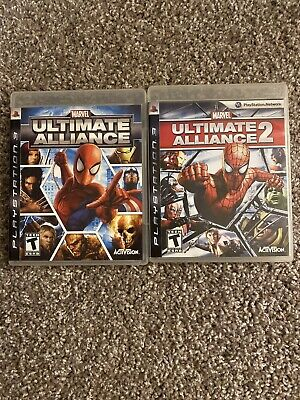 Marvel: Ultimate Alliance 1 + 2 - Spiderman - Video Game Lot - PS3 - Complete